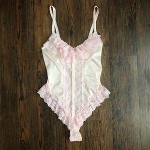 Vintage Pink Lace Teddy Lingerie